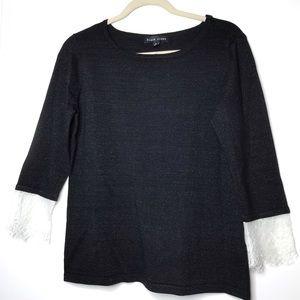 Black Rivet Sz S black sweater with lace trim